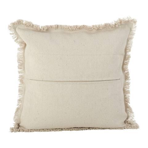 Aztec Tribal Design Fringe Trim Cotton Down Filled Throw Pillow