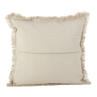 Aztec Tribal Design Fringe Trim Cotton Down Filled Throw Pillow