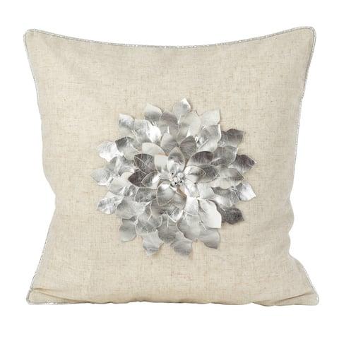 Metallic Poinsettia Flower Design Holiday Poly Filled Throw Pillow