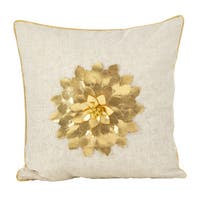 Metallic Poinsettia Flower Design Holiday Poly Filled Throw Pillow