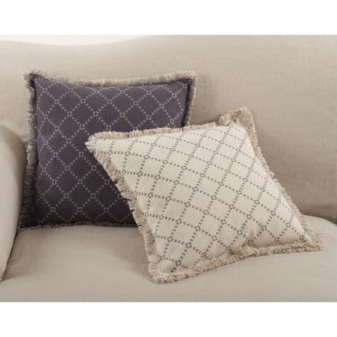 Diamond Design Fringe Trim Cotton Down Filled Throw Pillow
