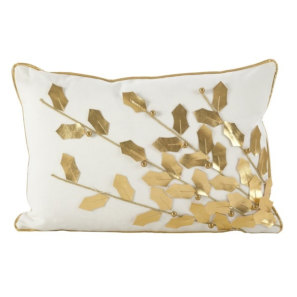 Metallic Poinsettia Branch Design Holiday Cotton Poly Filled Throw Pillow