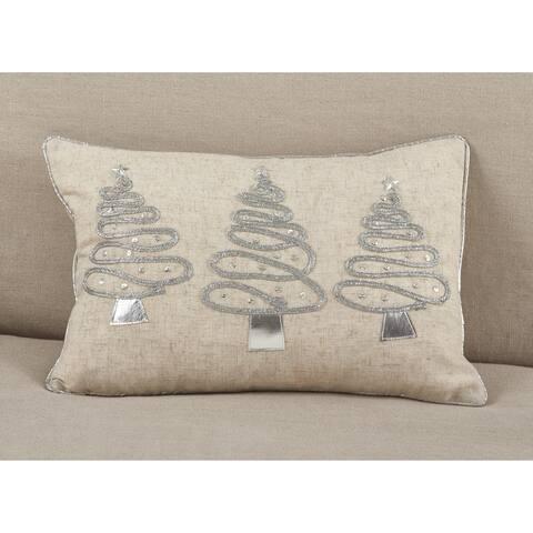 Silver Christmas Tree Trio Design Poly Filled Throw Pillow