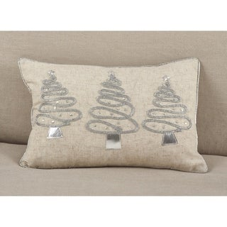 Silver Christmas Tree Trio Design Poly Filled Throw Pillow