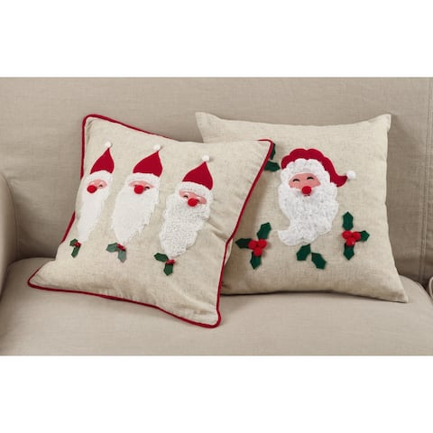Santa Claus Design Christmas Poly Filled Throw Pillow