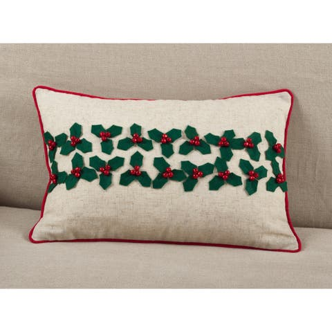 Holly Leaf Jingle Bells Christmas Poly Filled Throw Pillow