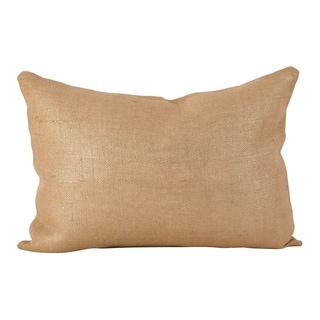Metallic Foil Design Burlap Jute Down Filled Throw Pillow