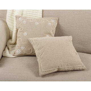 Beaded Sequin Floral Design Cotton Down Filled Throw Pillow