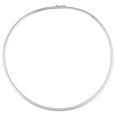 Fremada Italian 14k White Gold Omega Necklace (3mm, 16 inches)