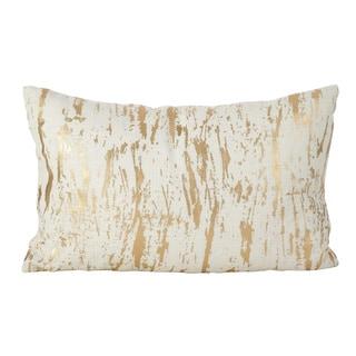 Distressed Metallic Foil Design Cotton Down Filled Throw Pillow (14 x 22 - Small)