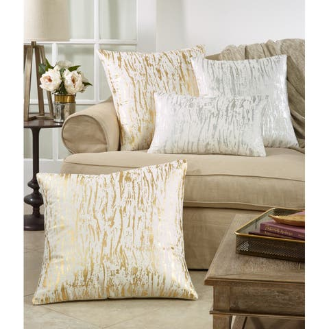 Distressed Metallic Foil Design Cotton Down Filled Throw Pillow