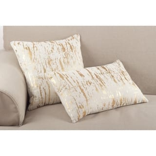 Distressed Metallic Foil Design Cotton Down Filled Throw Pillow|https://ak1.ostkcdn.com/images/products/16069767/P22456064.jpg?impolicy=medium