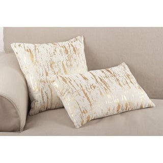 Distressed Metallic Foil Design Cotton Down Filled Throw Pillow