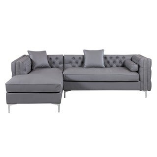 Chic Home Monet Grey Leather Left Sectional, Grey