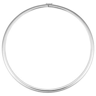 Fremada Italian 14k White Gold Omega Necklace (6-mm, 18 inches)