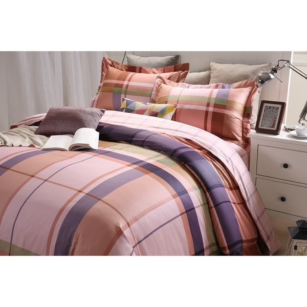 Lavish Night Royal Republic Pima Cotton Pink Plaid 3 Piece Duvet Cover Set
