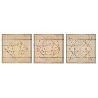 Oliver Gal 'Geometric Figures Set of 3' Wood Art