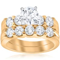 14K Yellow Gold 2 3/4 ct TDW Diamond Enhanced Engagement Ring Matching Wedding Band Set (I-J,I2-I3)