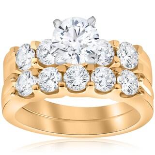 14K Yellow Gold 2 3/4 ct TDW Diamond Enhanced Engagement Ring Matching Wedding Band Set (I-J,I2-I3)