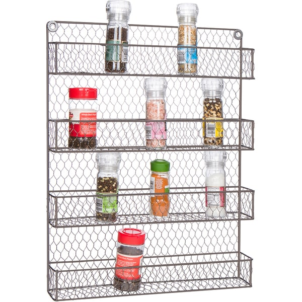 4-Tier Wire Spice Rack Storage Organizer - Wall Mount or Countertop by Trademark Innovations. Opens flyout.