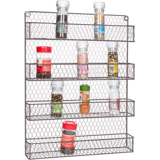 4-Tier Wire Spice Rack Storage Organizer - Wall Mount or Countertop by Trademark Innovations