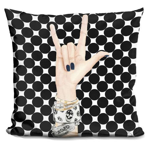 By Jodi 'ove and skulls 2' Throw Pillow
