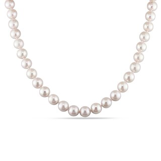 Miadora Signature Collection Cultured White Japanese Akoya Pearl Strand Necklace with Fish-Eye Clasp (8-8.5 mm)