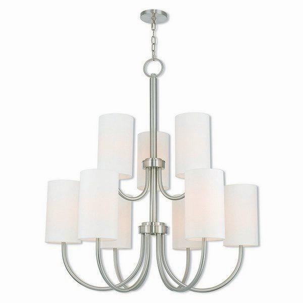 Livex Lighting 41168-91 Haddonfield Brushed Nickel 9-light Indoor Chandelier - Silver