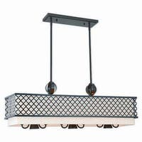 Livex Lighting Arabesque Bronze-finished Steel 9-light Indoor Chandelier with Cream Fabric Shade