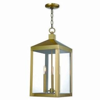 Livex Lighting 20587-01 Nyack 3 light Antique Brass Outdoor Pendant Lantern