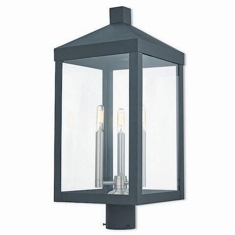 Livex Lighting 20586-04 Nyack 3 light Black Outdoor Post Top Lantern