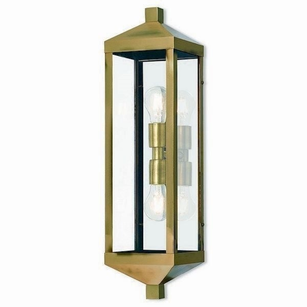 Livex Lighting 20583-01 Outdoor Wall Lantern 2 light Antique Brass