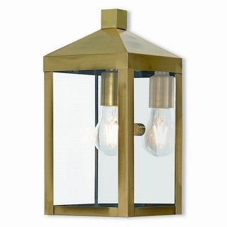 Livex Lighting 20582-01 Outdoor Wall Lantern 1 Light Antique Brass