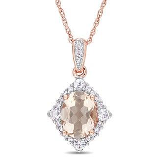 Miadora Signature Collection 10k Rose Gold Morganite White Sapphire and Diamond Halo Dangle Necklace