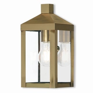 Livex Lighting 1-light Antique Brass Outdoor Wall Lantern