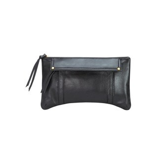Leather Clutch with Perforated Details