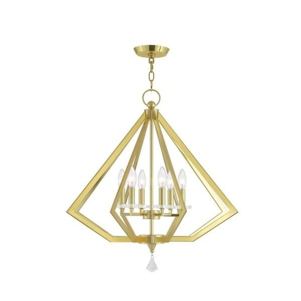 Livex Lighting 50666-02 Diamond-shape 6-light Polished Brass Indoor Chandelier