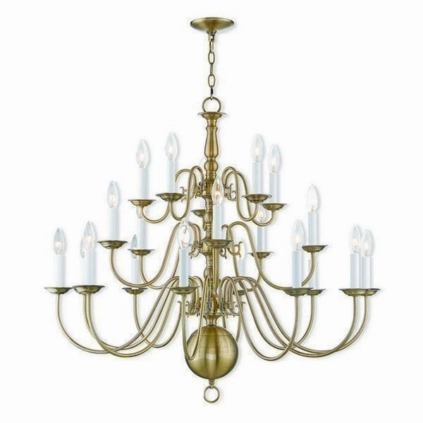 Livex Lighting 5019-01 Williamsburgh Antique Brass 20-light Indoor Chandelier