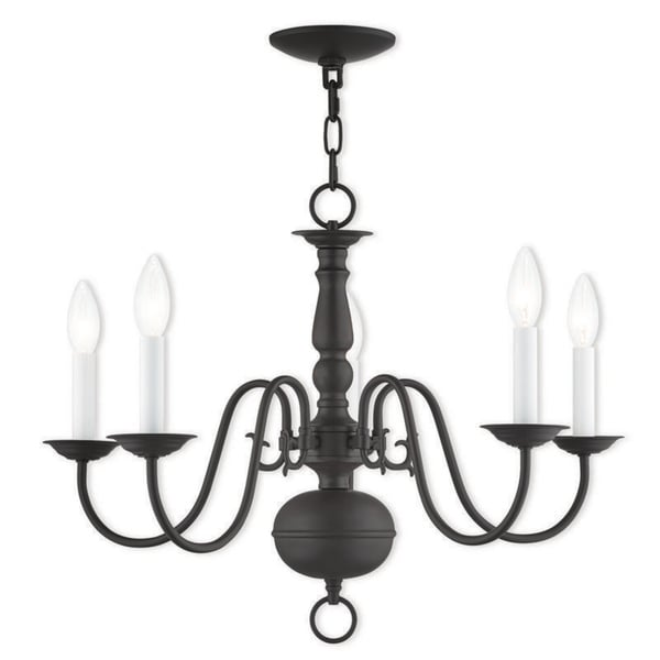 Livex Lighting 5005-07 Williamsburgh 5 light Bronze Indoor Chandelier