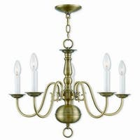 Livex Lighting 5005-01 Williamsburgh 5 light Antique Brass Indoor Chandelier