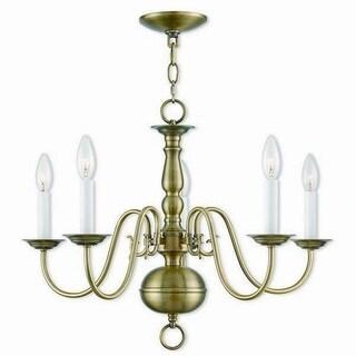 Livex Lighting 5005-01 Williamsburgh 5 light Antique Brass Indoor Chandelier