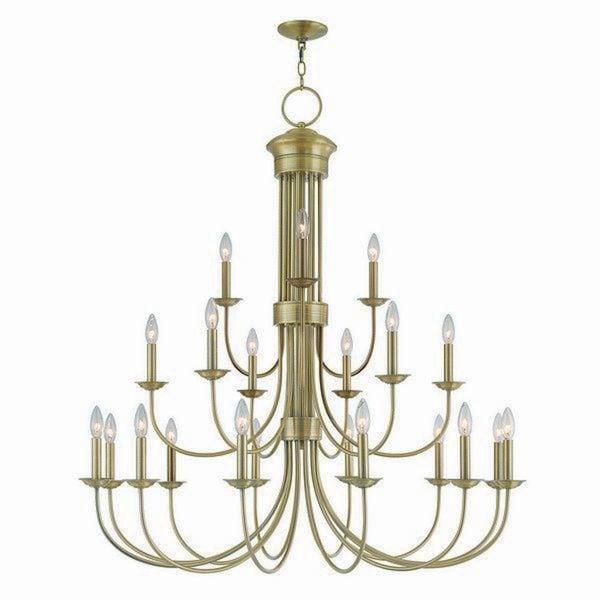 Livex Lighting 42688-01 Estate Antique Brass Steel Over 20-light Indoor Chandelier
