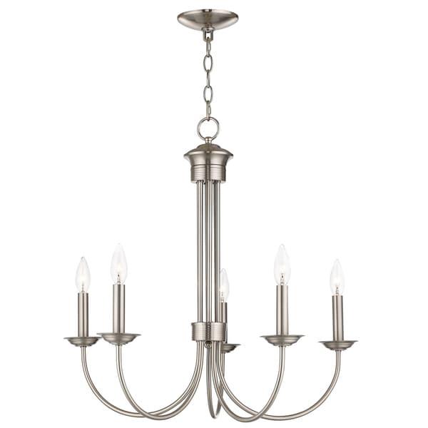 Livex Lighting 42685-91 Estate 5 light Brushed Nickel Indoor Chandelier