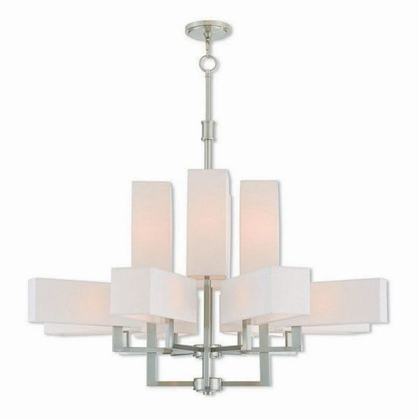 Livex Lighting Rubix Brushed Nickel-finished Steel 12-light Indoor Chandelier with White Shades