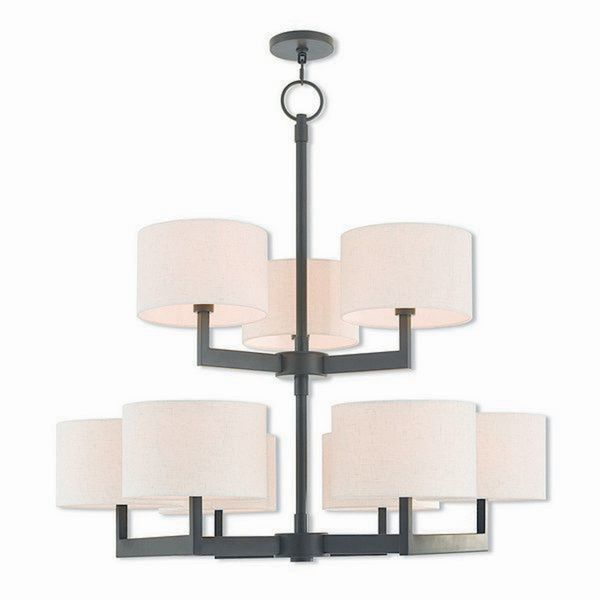 Livex Lighting Hayworth Bronze-finished Steel 9-light Indoor Chandelier with Cream Fabric Shades