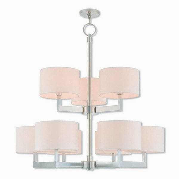 Livex Lighting 42409-91 Hayworth Brushed Nickel Steel 9-light Indoor Chandelier