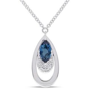 Miadora Signature Collection 14k White Gold London-Blue Topaz and 1/5ct TDW Diamond Double Teardrop Dangle Necklace