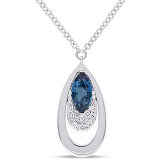Miadora Signature Collection 14k White Gold London-Blue Topaz and 1/5ct TDW Diamond Double Teardrop Dangle Necklace
