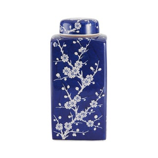Bombay Cherry Blossom Blue/White Ceramic Jar with Lid