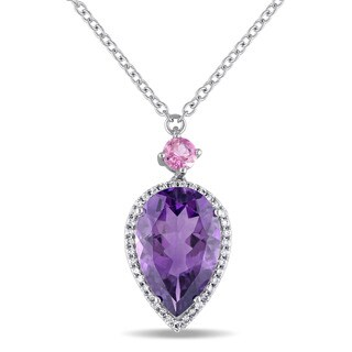 Miadora Signature Collection 14k White Gold African-Amethyst Pink Tourmaline & 1/5ct TDW Diamond Teardrop Halo Necklace